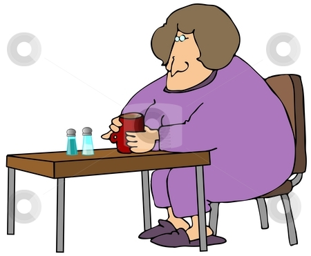 Woman Drinking Coffee stock photo, This illustration depicts a woman sitting at a table drinking coffee. by Dennis Cox