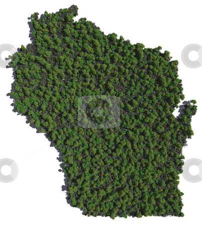 Wisconsin in Trees stock photo, The shape of Wisconsin grown in trees by Allan Tooley