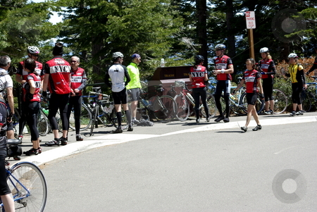 America's Most Beautiful Bicycle Ride (Lake Tahoe) stock photo, Participants taking a break at Emerald Bay. by Lynn Bendickson