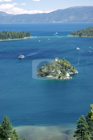 Emerald Bay stock photo, Emerald Bay in the Lake Tahoe area with a view towards the bay entrance. by Lynn Bendickson