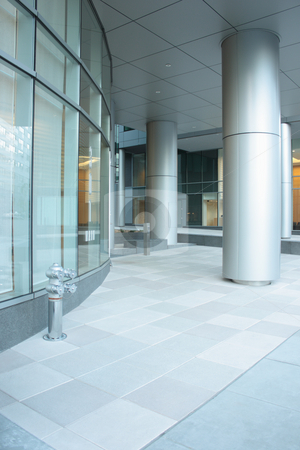 Office building lobby stock photo, Office building lobby with glass windows and columns by ImageZebra .