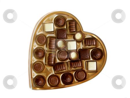 Valentine cholocate box stock photo, Heart shaped box of chocolates isolated on white background by Elena Elisseeva