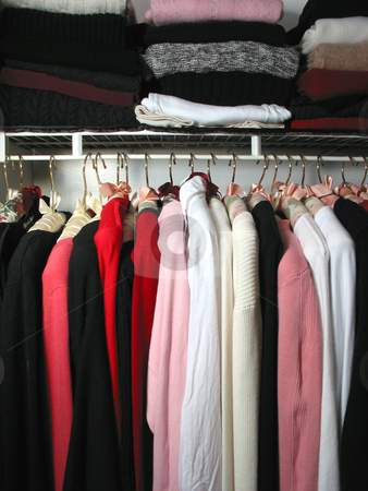 Closet with clothes stock photo, Closet full of clothes: