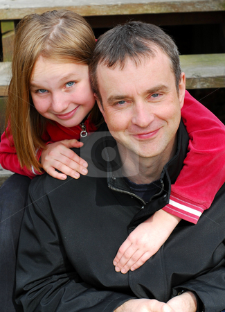 Father daughter portrait stock photo, Portrait of father and daughter by Elena Elisseeva