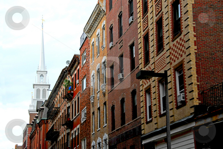 Old North Church in Boston stock photo, Steeple of Old North Church in Boston North End, row of historical brick buildings in foreground by Elena Elisseeva