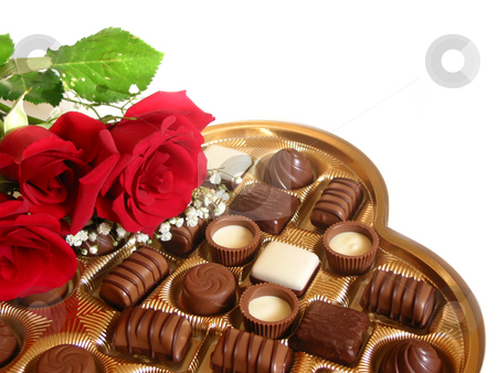 Valentine cholocate box stock photo, Heart shaped box of chocolates with red roses isolated on white background by Elena Elisseeva
