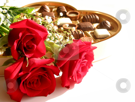 Valentine's day card stock photo, Red roses with heart-shaped box of chocolates on white background by Elena Elisseeva