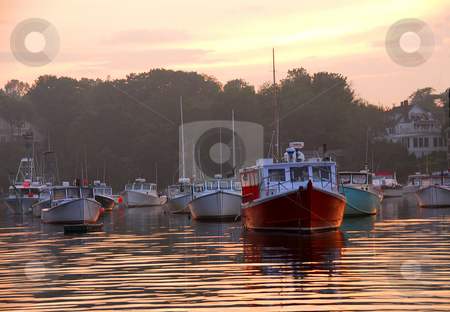 Fishing boats at sunset stock photo, Fishing boats at sunset in Perkins Cove, Maine by Elena Elisseeva