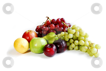 Fruits on white stock photo, Assorted fruits on white background by Elena Elisseeva