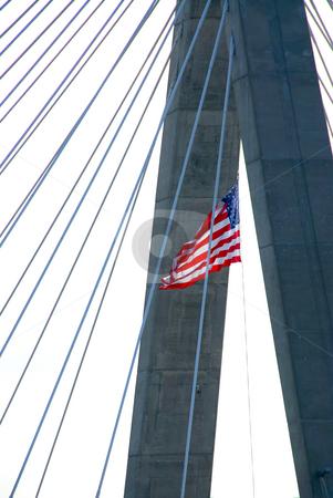 Zakim bridge, boston, massachusetts, urban architecture, sunset, , bridge silhouette, silhouette, sk stock photo, Detail of Leonard Zakim bridge in Boston with american flag by Elena Elisseeva