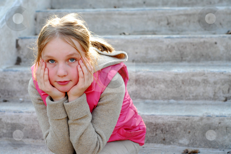 Girl child thinking stock photo, Young girl sitting on concrete stairs thinking by Elena Elisseeva