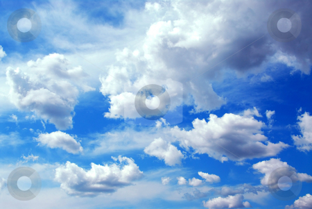 Cloudy sky background stock photo, Deep blue cloudy sky background by Elena Elisseeva