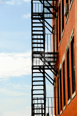 Fire escape stock photo, Fire escape on old brick building in Boston by Elena Elisseeva