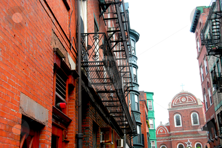Boston street stock photo, Old narrow street in Boston historical North End by Elena Elisseeva