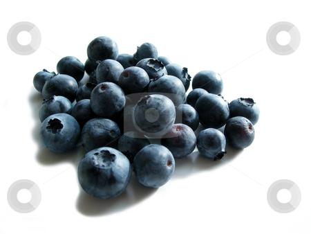 Blueberries on white stock photo, Fresh blueberries on white background by Elena Elisseeva