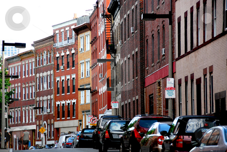 Boston street stock photo, Narrow street in Boston hitorical North End by Elena Elisseeva