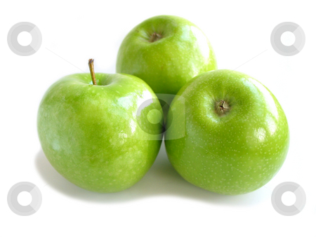 Green apple white stock photo, Three green apples isolated on white background by Elena Elisseeva