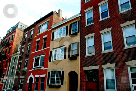 Houses in Boston stock photo, Row of colorful houses in Boston North End by Elena Elisseeva