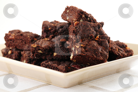 Brownies dessert stock photo, Homemade chocolate brownies served on a plate by Elena Elisseeva