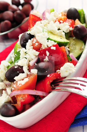 Greek salad stock photo, Greek salad with feta cheese and black kalamata olives by Elena Elisseeva