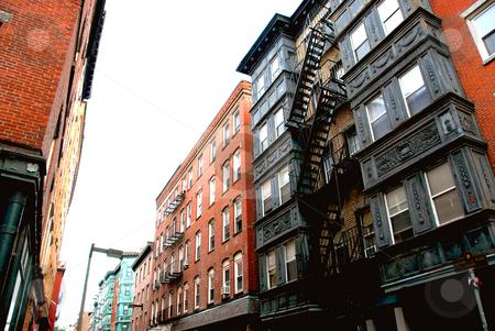 Townhouses on Boston street stock photo, Narrow street in Boston historical North End by Elena Elisseeva