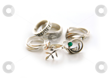 Silver rings stock photo, Silver rings on white background by Elena Elisseeva
