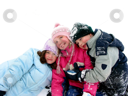 Children playing in snow stock photo, Three children having fun in the fresh white snow by Elena Elisseeva