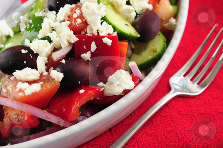 Greek salad stock photo, Greek salad with feta cheese and black kalamata olives by Elena Elisseeva