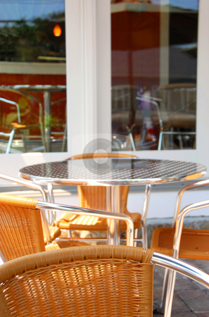 Cafe patio stock photo, Summer patio of outdoor cafe with furniture by Elena Elisseeva