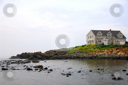 House on ocean shore stock photo, House on ocean shore in Perkins Cove, Maine by Elena Elisseeva