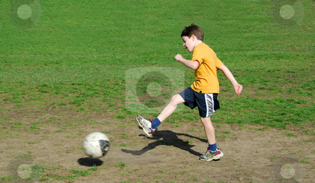 Boy kicking soccer ball stock photo, Young boy kicking soccer ball by Elena Elisseeva