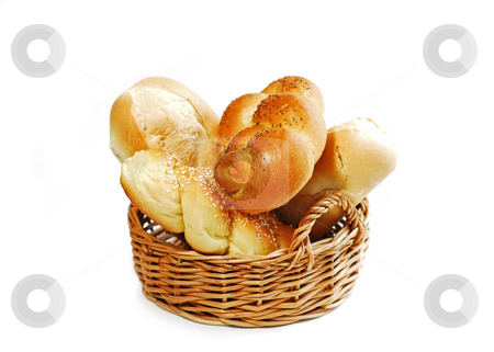 Bread basket on white stock photo, Small basket filled with buns isolated on white background by Elena Elisseeva