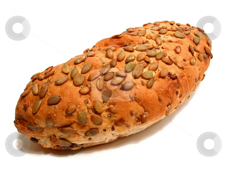Bread on white background stock photo, Loaf of artisan pumpkin seed and cranberry bread on white background by Elena Elisseeva