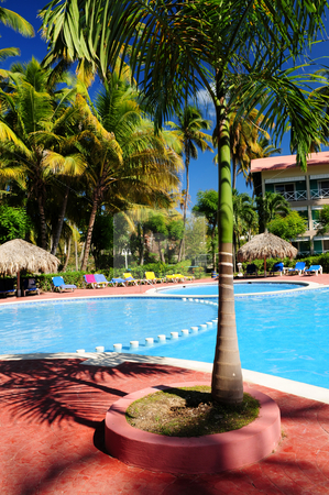 Swimming pool hotel at tropical resort stock photo, Swimming pool and hotel with palm trees at tropical resort by Elena Elisseeva