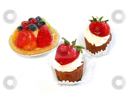 Dessert stock photo, Desserts isolated on white background by Elena Elisseeva