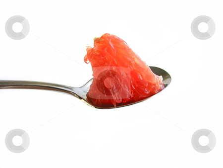 Healthy choice stock photo, Piece of ruby red grapefruit on a teaspoon isolated on white background by Elena Elisseeva