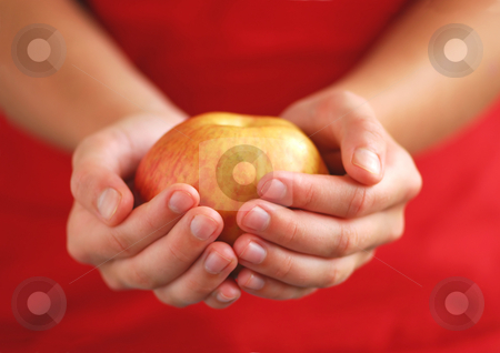 Apple in hands stock photo, Child's hands holding an apple on red background by Elena Elisseeva