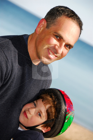 Father son portrait stock photo, Portrait of a father and a son by Elena Elisseeva