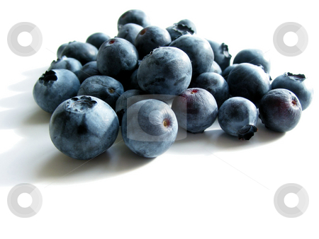 Blueberries on white stock photo, Closeup on fresh blueberries isolated on white background by Elena Elisseeva