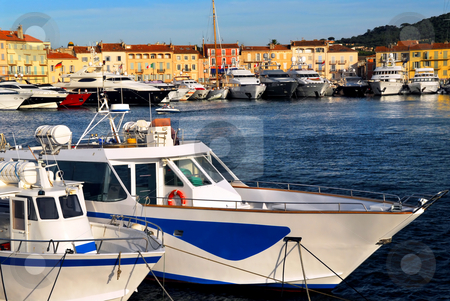 Boats at St.Tropez stock photo, Luxury boats anchored in St. Tropez in French Riviera by Elena Elisseeva