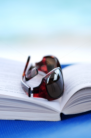 Sunglasses and book on beach chair stock photo, Sunglasses and open book on beach chair - summer vacation concept by Elena Elisseeva