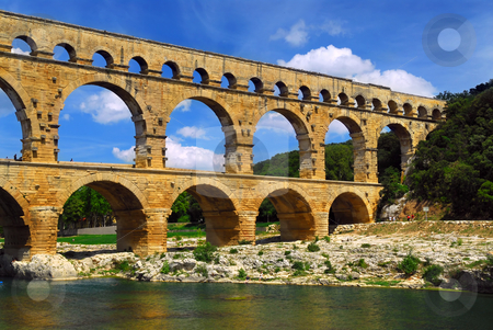 Pont du Gard in southern France stock photo, Pont du Gard is a part of Roman aqueduct in southern France near Nimes. by Elena Elisseeva