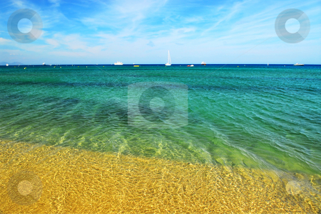 Mediterranean sea stock photo, View on Mediterranean sea from famous Pampelonne beach near St. Tropez in French Riviera by Elena Elisseeva
