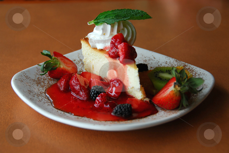 Cheesecake stock photo, Cheesecake with fresh berries by Elena Elisseeva