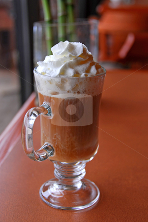 Coffee whipped cream stock photo, Coffee with alcohol and whipped cream by Elena Elisseeva