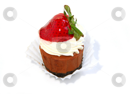 Chocolate cheesecake stock photo, Chocolate cheesecake isolated on white background by Elena Elisseeva