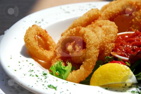 Fried calamari stock photo, Fried calamari with sauce by Elena Elisseeva