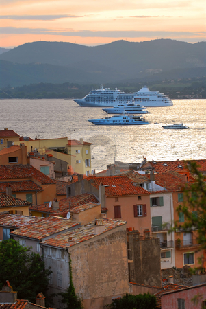 Cruise ships at St.Tropez stock photo, Cruise ships at St.Tropez at sunset in French Riviera by Elena Elisseeva