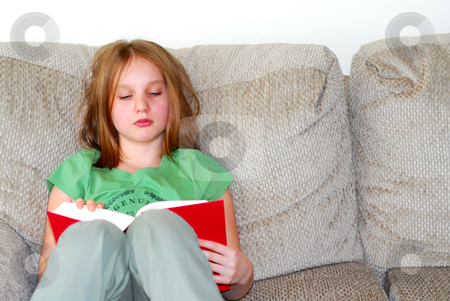 Young girl reading stock photo, Young girl reading a book on a couch by Elena Elisseeva