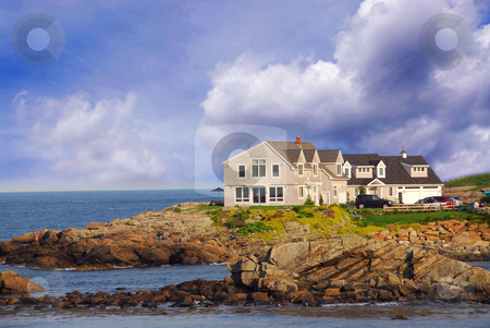 House on ocean shore stock photo, House on ocean shore in Maine, USA by Elena Elisseeva